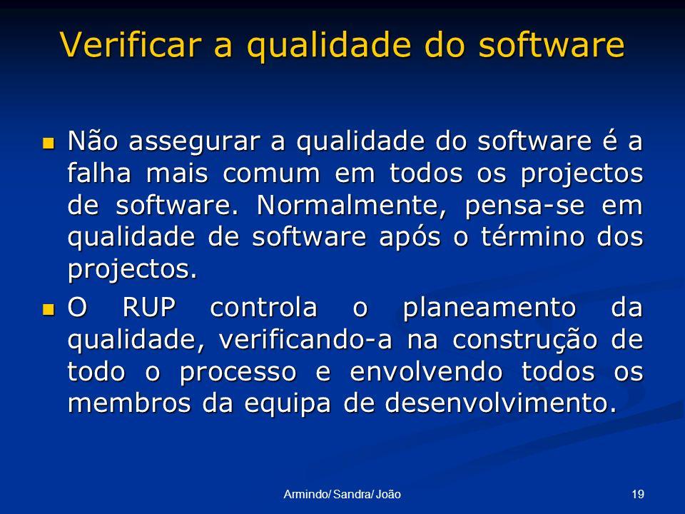 Verificar a qualidade do software