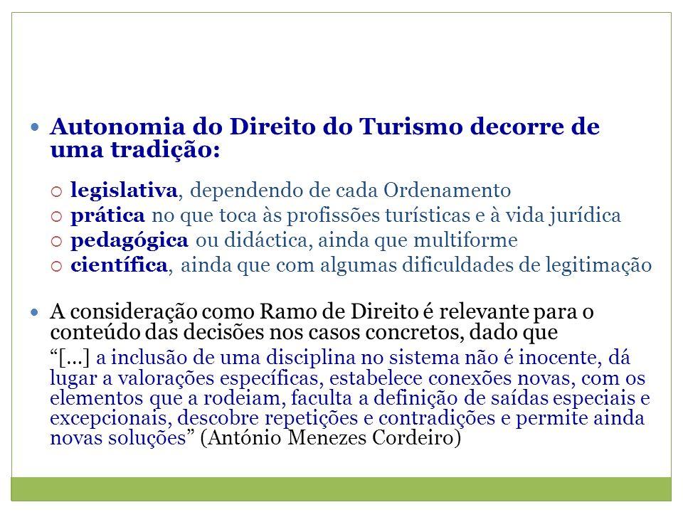 Autonomia do Direito do Turismo decorre de uma tradição: