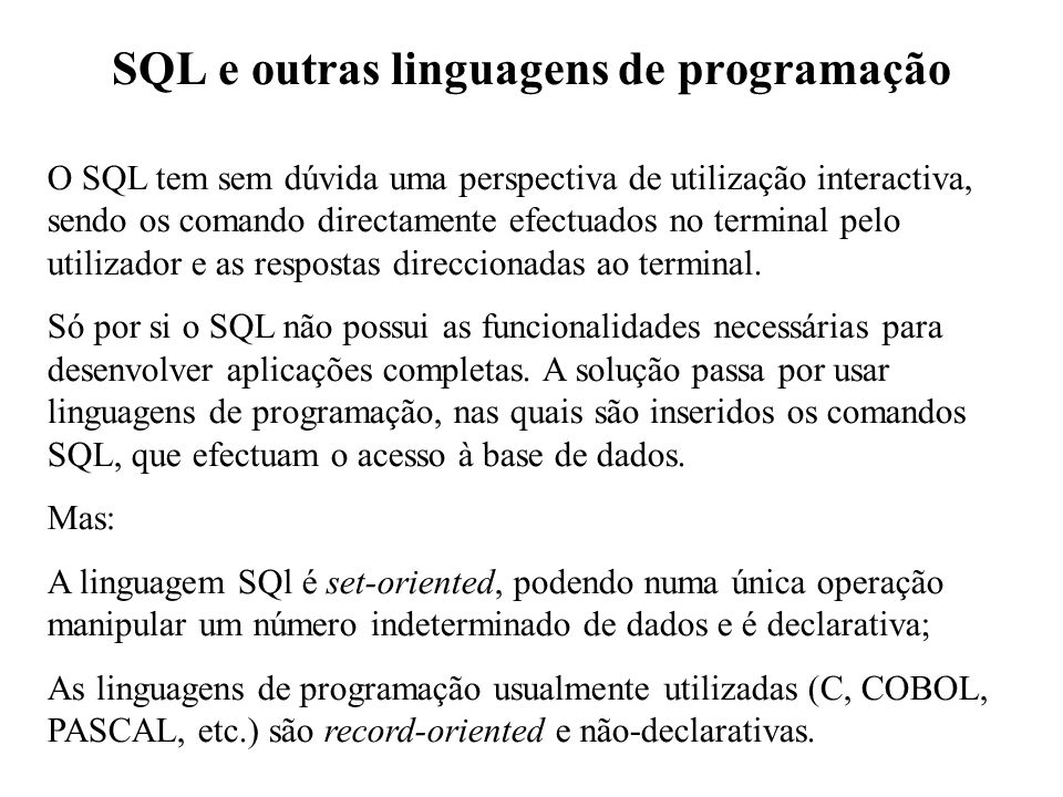 SQL e outras linguagens de programação