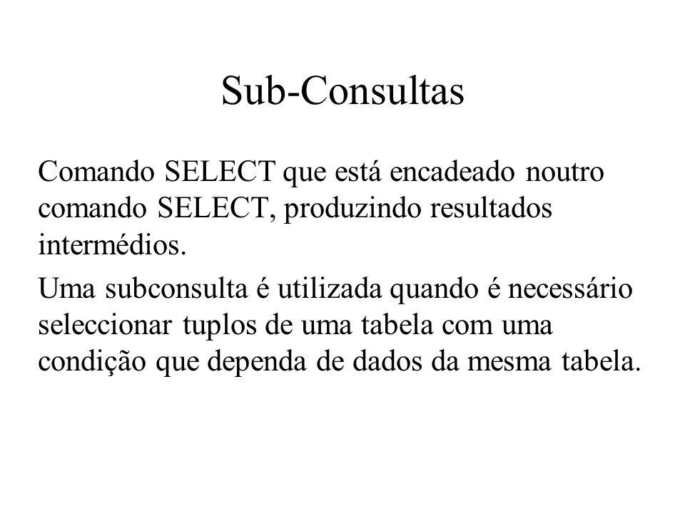Sub-Consultas Comando SELECT que está encadeado noutro comando SELECT, produzindo resultados intermédios.