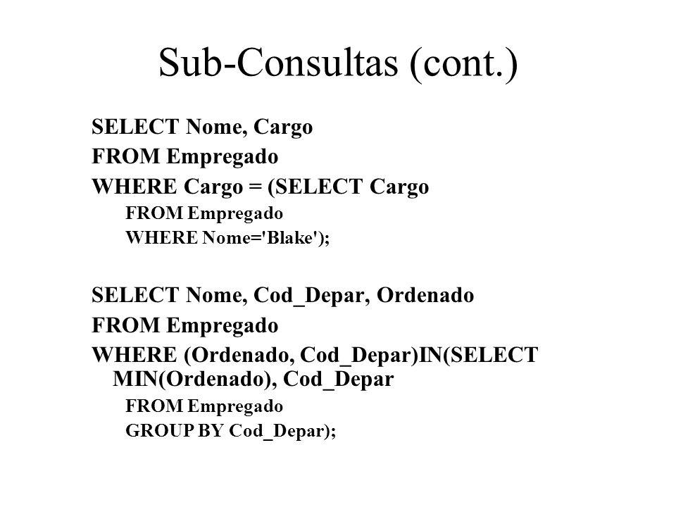 Sub-Consultas (cont.) SELECT Nome, Cargo FROM Empregado