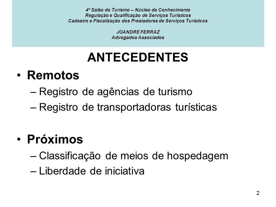 ANTECEDENTES Remotos Próximos Registro de agências de turismo