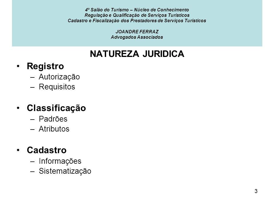 NATUREZA JURIDICA Registro Classificação Cadastro Autorização