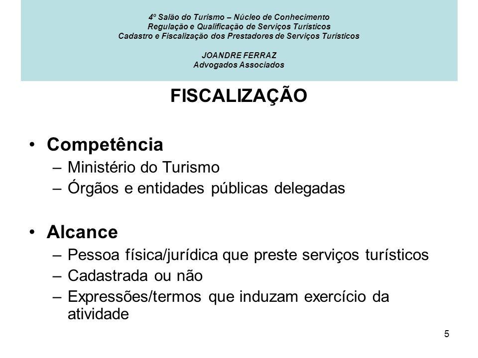 FISCALIZAÇÃO Competência Alcance Ministério do Turismo