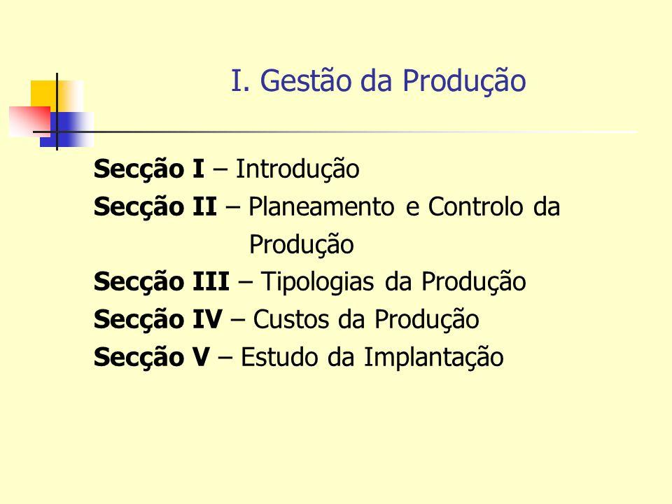 I. Gestão da Produção Secção I – Introdução