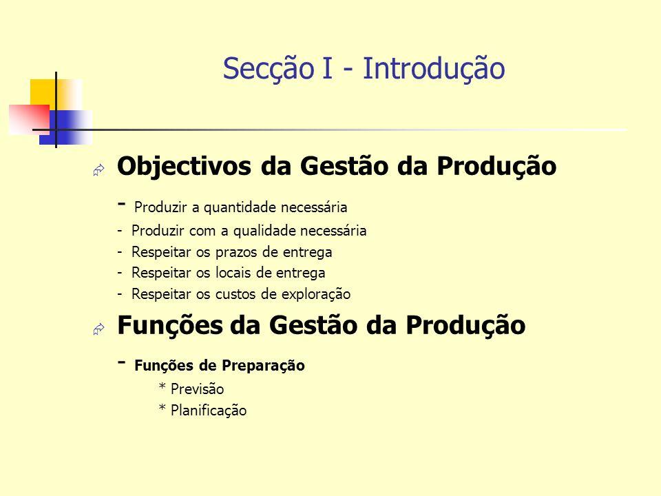 Secção I - Introdução Objectivos da Gestão da Produção