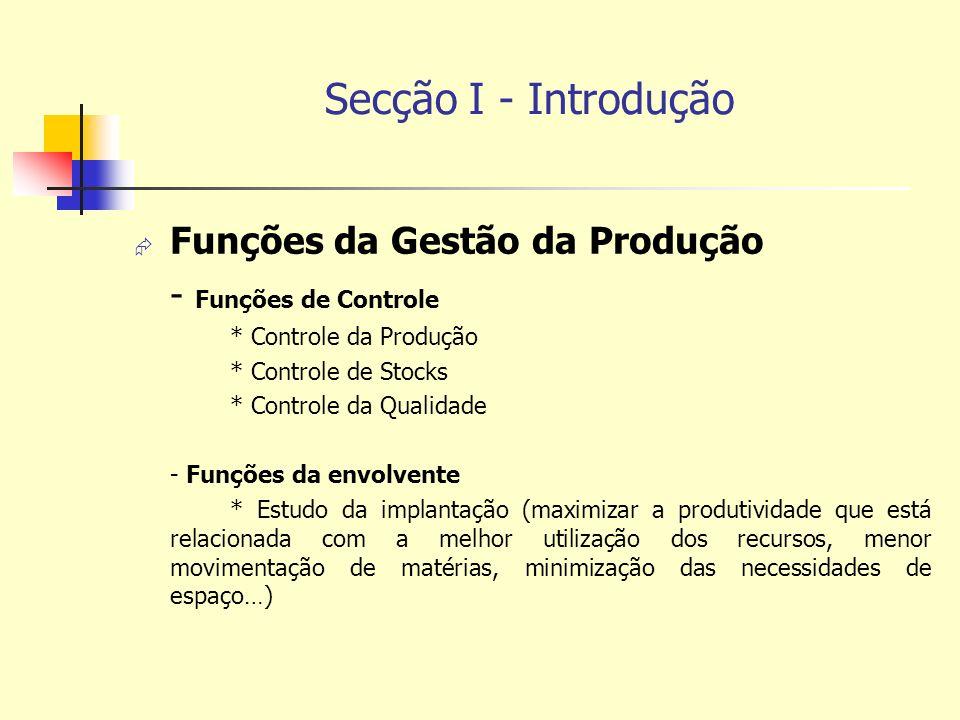 Secção I - Introdução Funções da Gestão da Produção