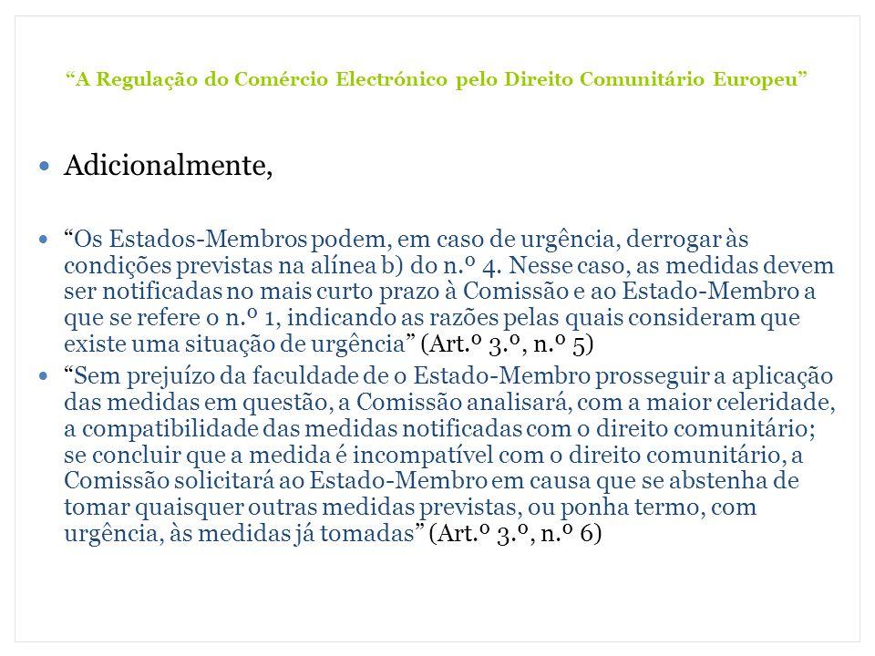 A Regulação do Comércio Electrónico pelo Direito Comunitário Europeu