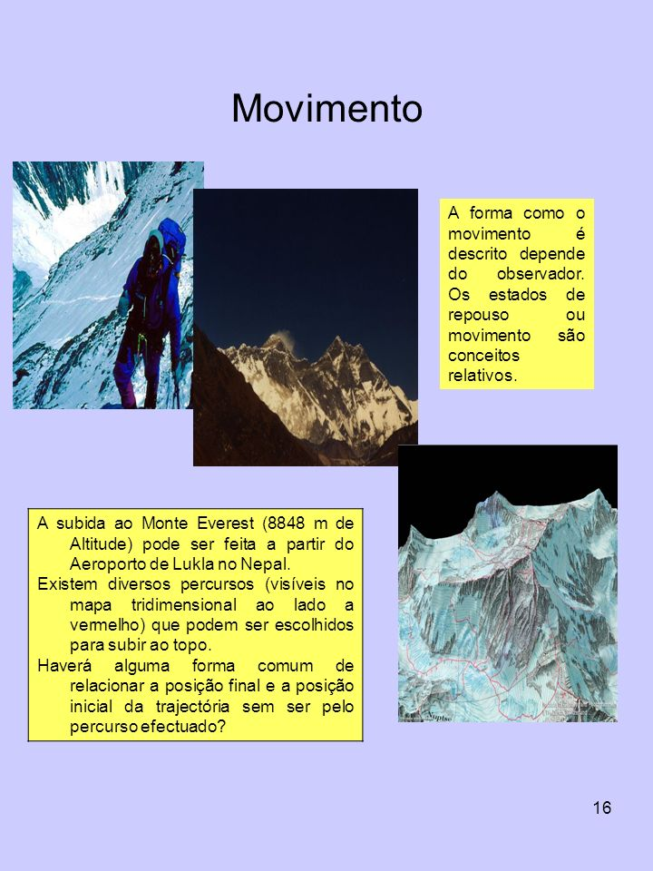 Movimento A forma como o movimento é descrito depende do observador. Os estados de repouso ou movimento são conceitos relativos.