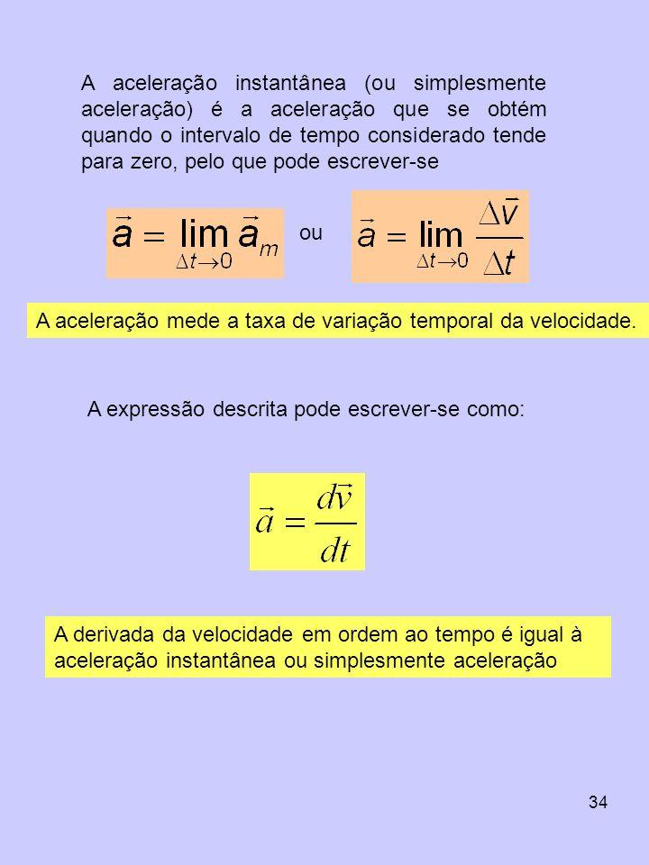 A aceleração instantânea (ou simplesmente aceleração) é a aceleração que se obtém quando o intervalo de tempo considerado tende para zero, pelo que pode escrever-se