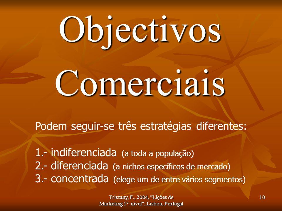 Objectivos Comerciais