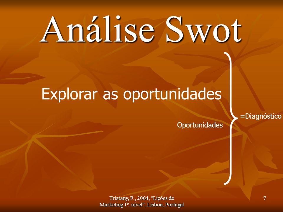 Tristany, F., 2004, Lições de Marketing 1º. nível , Lisboa, Portugal