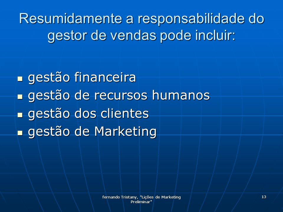 Resumidamente a responsabilidade do gestor de vendas pode incluir: