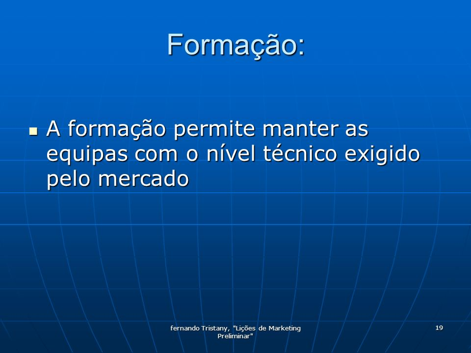fernando Tristany, Lições de Marketing Preliminar