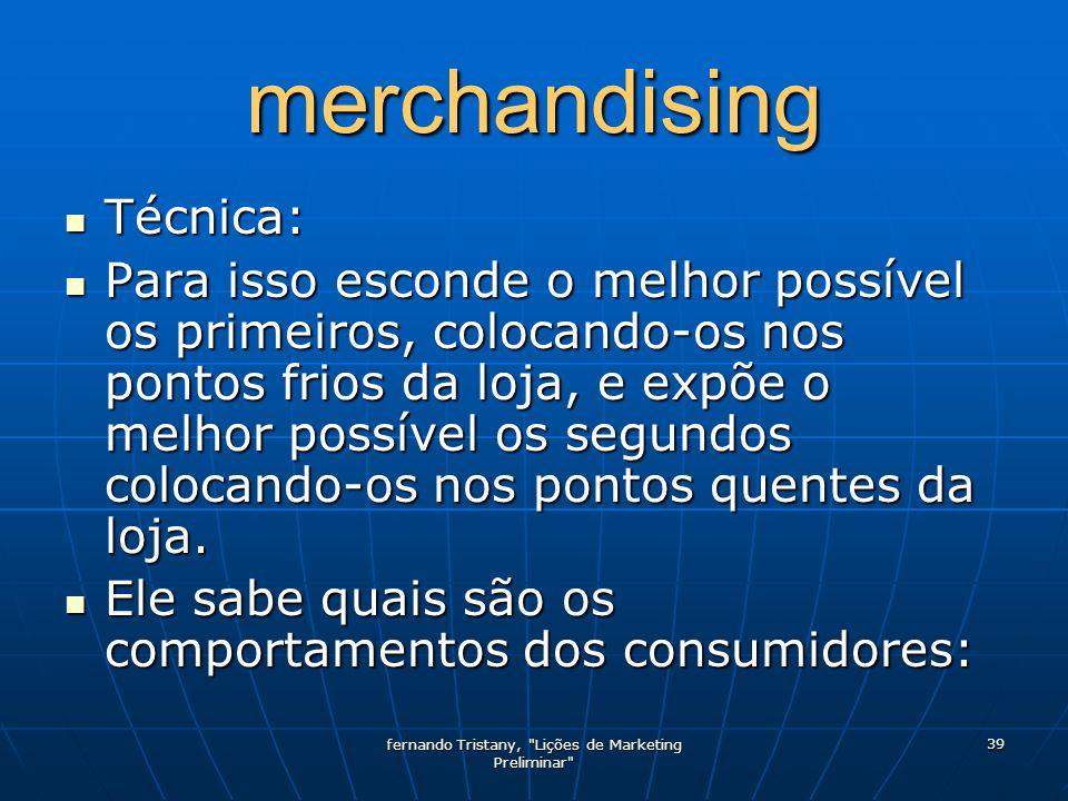 fernando Tristany, Lições de Marketing Preliminar