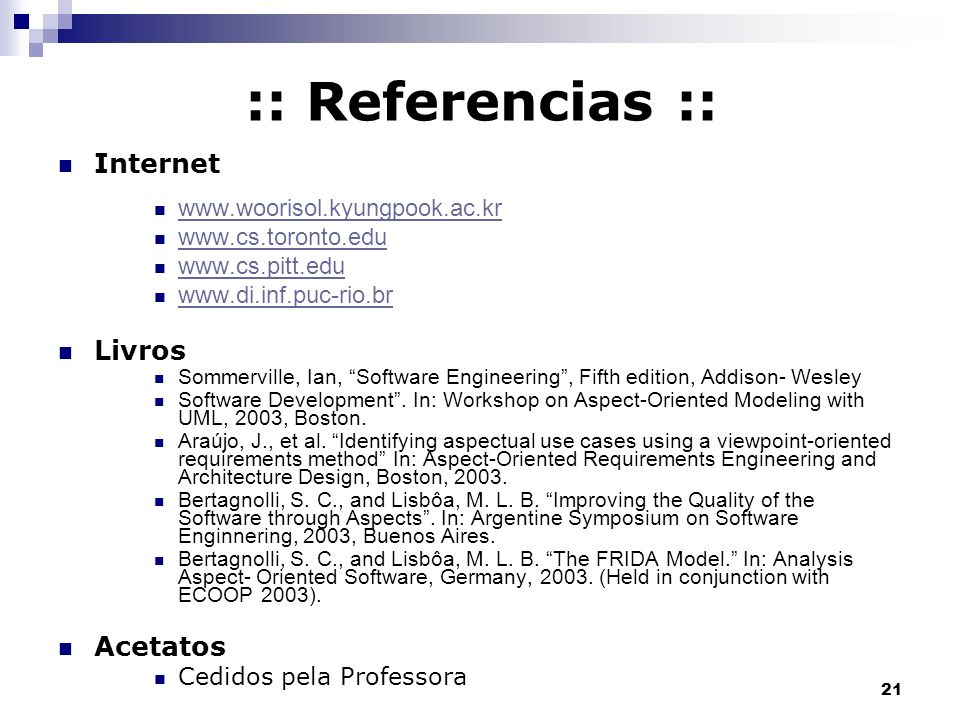 :: Referencias :: Internet Livros Acetatos