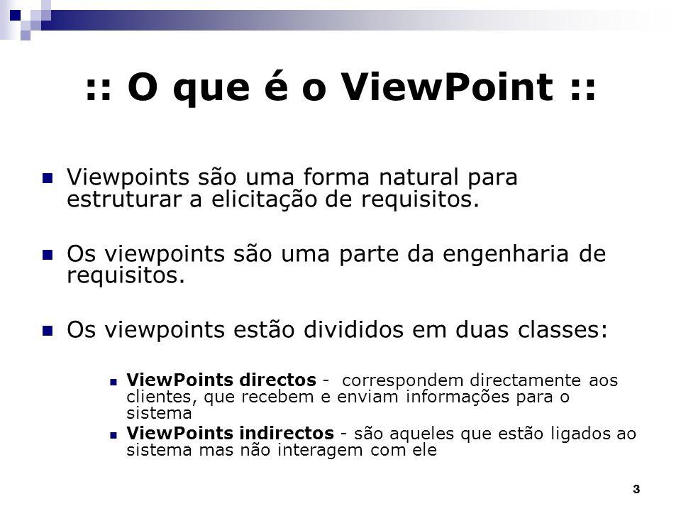 :: O que é o ViewPoint :: Viewpoints são uma forma natural para estruturar a elicitação de requisitos.