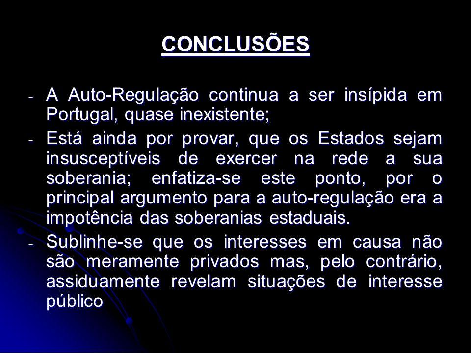 CONCLUSÕES A Auto-Regulação continua a ser insípida em Portugal, quase inexistente;