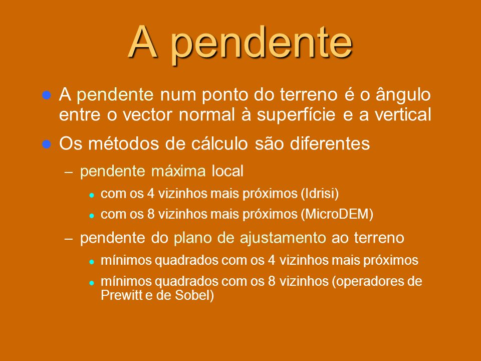 A pendente A pendente num ponto do terreno é o ângulo entre o vector normal à superfície e a vertical.