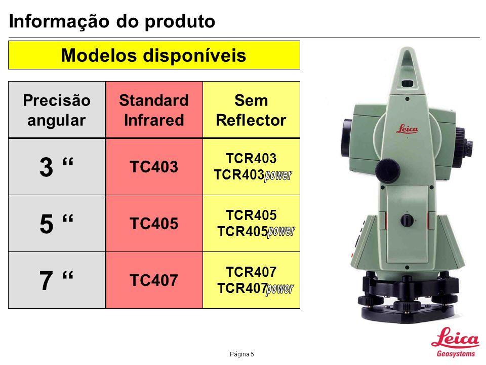 3 5 7 Informação do produto Modelos disponíveis Precisão angular