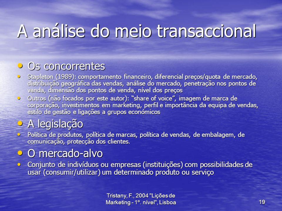 A análise do meio transaccional