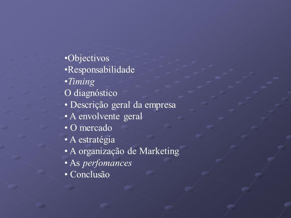 ObjectivosResponsabilidade. Timing. O diagnóstico. Descrição geral da empresa. A envolvente geral. O mercado.