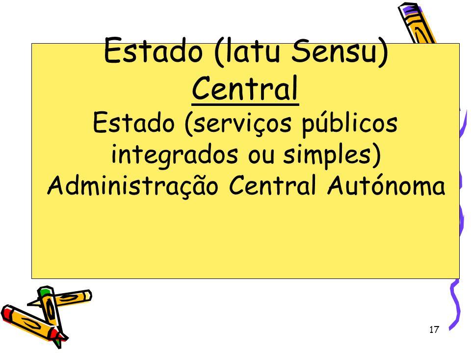 Estado (latu Sensu) Central Estado (serviços públicos integrados ou simples) Administração Central Autónoma