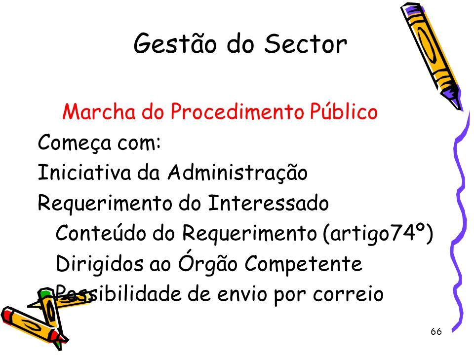 Gestão do Sector Marcha do Procedimento Público Começa com: