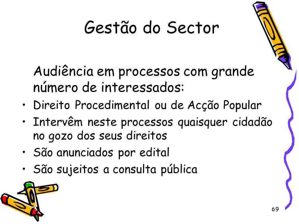 Gestão do SectorAudiência em processos com grande número de interessados: Direito Procedimental ou de Acção Popular.