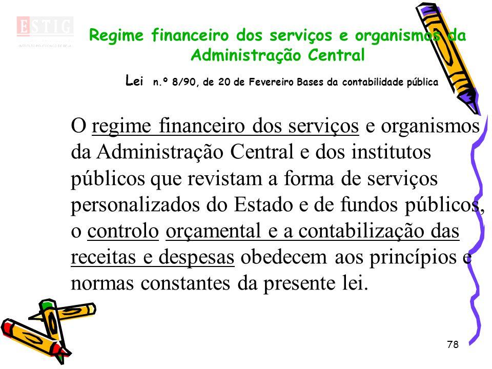 Regime financeiro dos serviços e organismos da Administração Central Lei n.º 8/90, de 20 de Fevereiro Bases da contabilidade pública