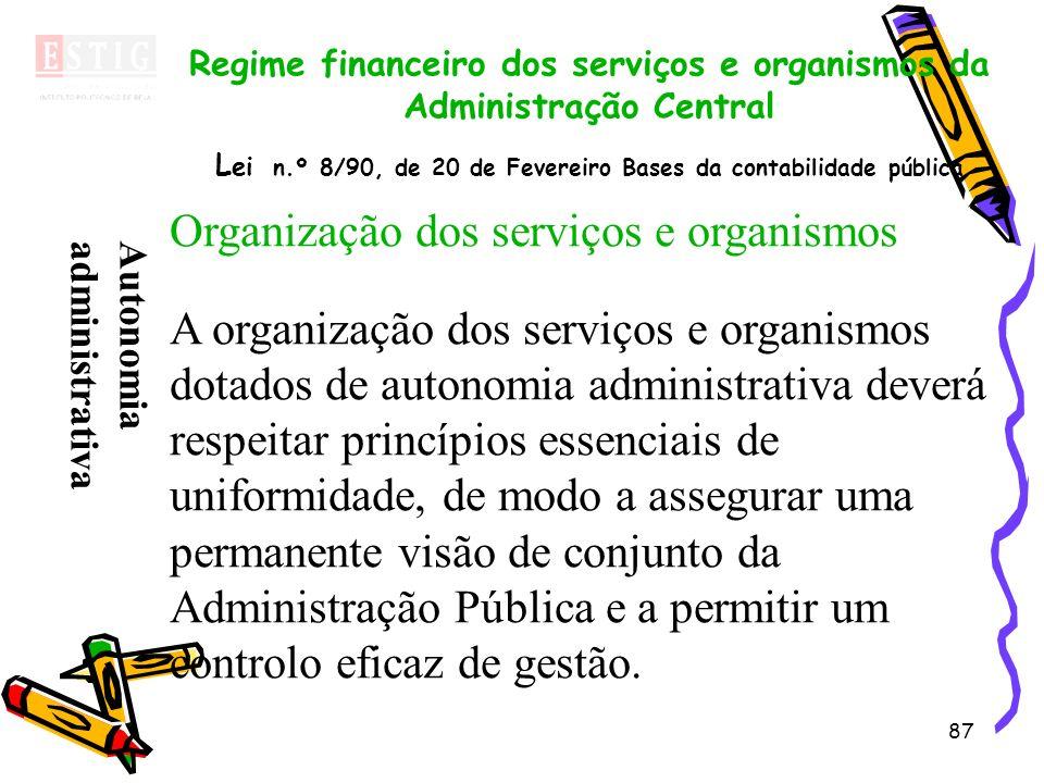 Organização dos serviços e organismos