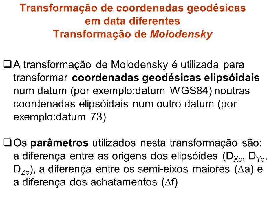 Transformação de coordenadas geodésicas em data diferentes Transformação de Molodensky
