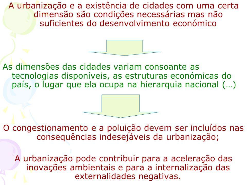A urbanização e a existência de cidades com uma certa dimensão são condições necessárias mas não suficientes do desenvolvimento económico