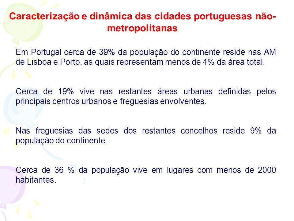 Caracterização e dinâmica das cidades portuguesas não-metropolitanas