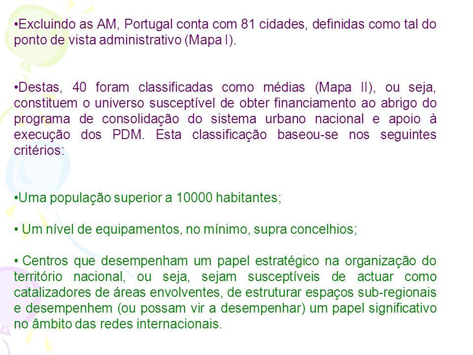 Excluindo as AM, Portugal conta com 81 cidades, definidas como tal do ponto de vista administrativo (Mapa I).