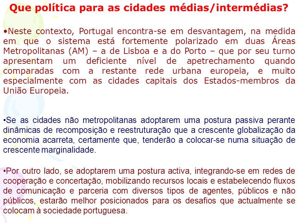 Que política para as cidades médias/intermédias