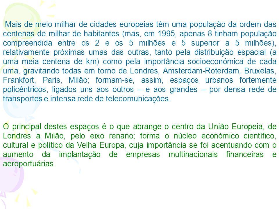 Mais de meio milhar de cidades europeias têm uma população da ordem das centenas de milhar de habitantes (mas, em 1995, apenas 8 tinham população compreendida entre os 2 e os 5 milhões e 5 superior a 5 milhões), relativamente próximas umas das outras, tanto pela distribuição espacial (a uma meia centena de km) como pela importância socioeconómica de cada uma, gravitando todas em torno de Londres, Amsterdam-Roterdam, Bruxelas, Frankfort, Paris, Milão; formam-se, assim, espaços urbanos fortemente policêntricos, ligados uns aos outros – e aos grandes – por densa rede de transportes e intensa rede de telecomunicações.