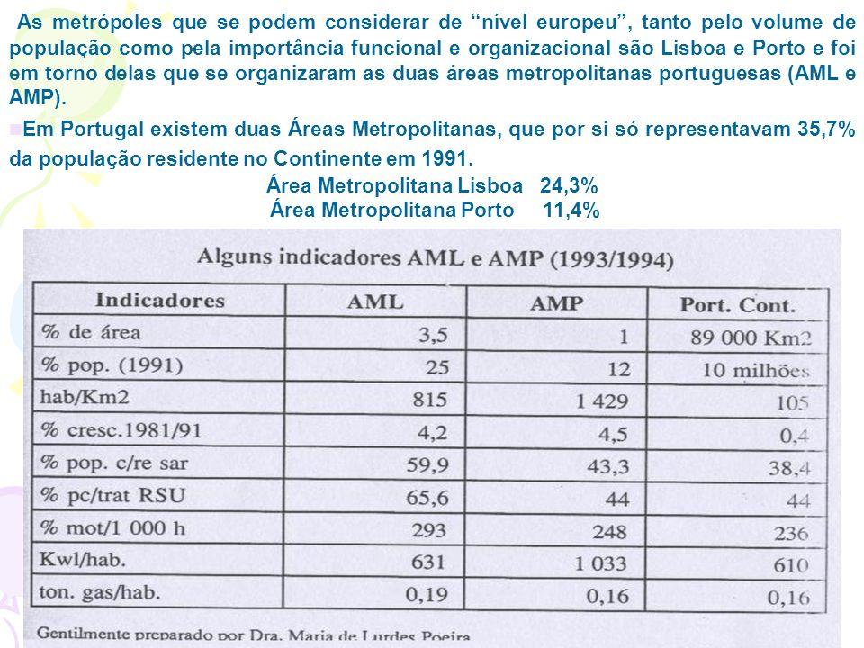 Área Metropolitana Lisboa 24,3% Área Metropolitana Porto 11,4%