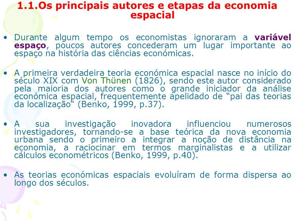 1.1.Os principais autores e etapas da economia espacial