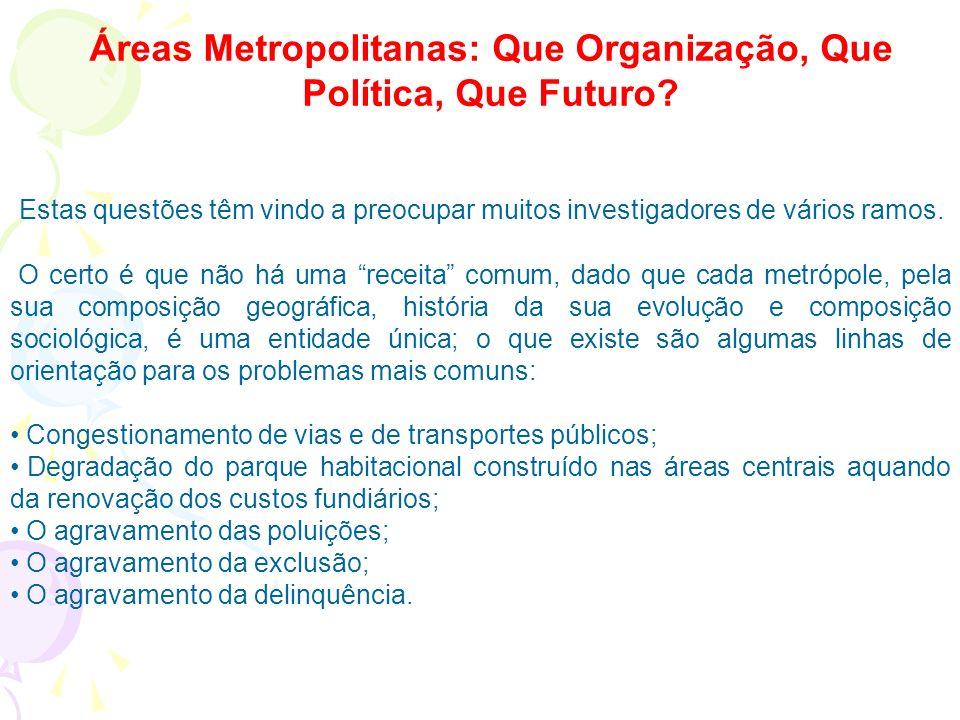 Áreas Metropolitanas: Que Organização, Que Política, Que Futuro
