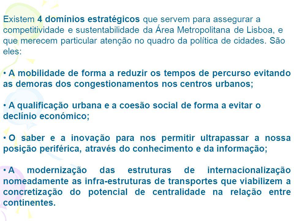 Existem 4 domínios estratégicos que servem para assegurar a competitividade e sustentabilidade da Área Metropolitana de Lisboa, e que merecem particular atenção no quadro da política de cidades. São eles: