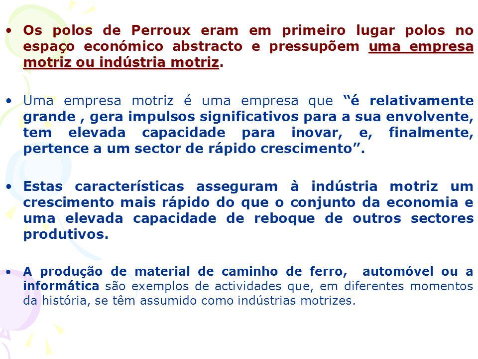 Os polos de Perroux eram em primeiro lugar polos no espaço económico abstracto e pressupõem uma empresa motriz ou indústria motriz.