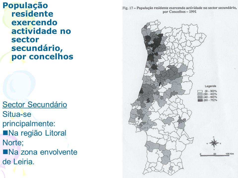 População residente exercendo actividade no sector secundário, por concelhos
