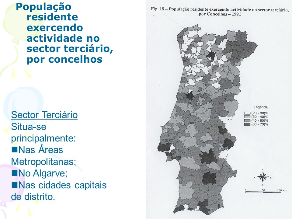 População residente exercendo actividade no sector terciário, por concelhos