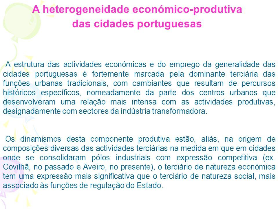 A heterogeneidade económico-produtiva das cidades portuguesas