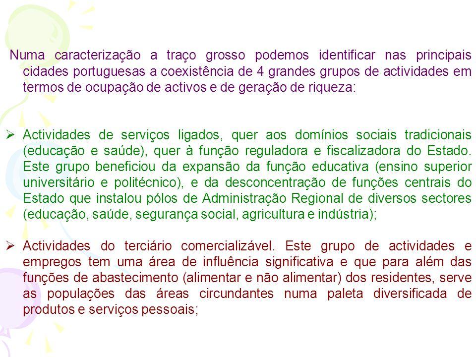 Numa caracterização a traço grosso podemos identificar nas principais cidades portuguesas a coexistência de 4 grandes grupos de actividades em termos de ocupação de activos e de geração de riqueza:
