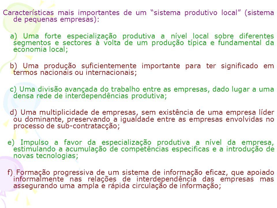 Características mais importantes de um sistema produtivo local (sistema de pequenas empresas):
