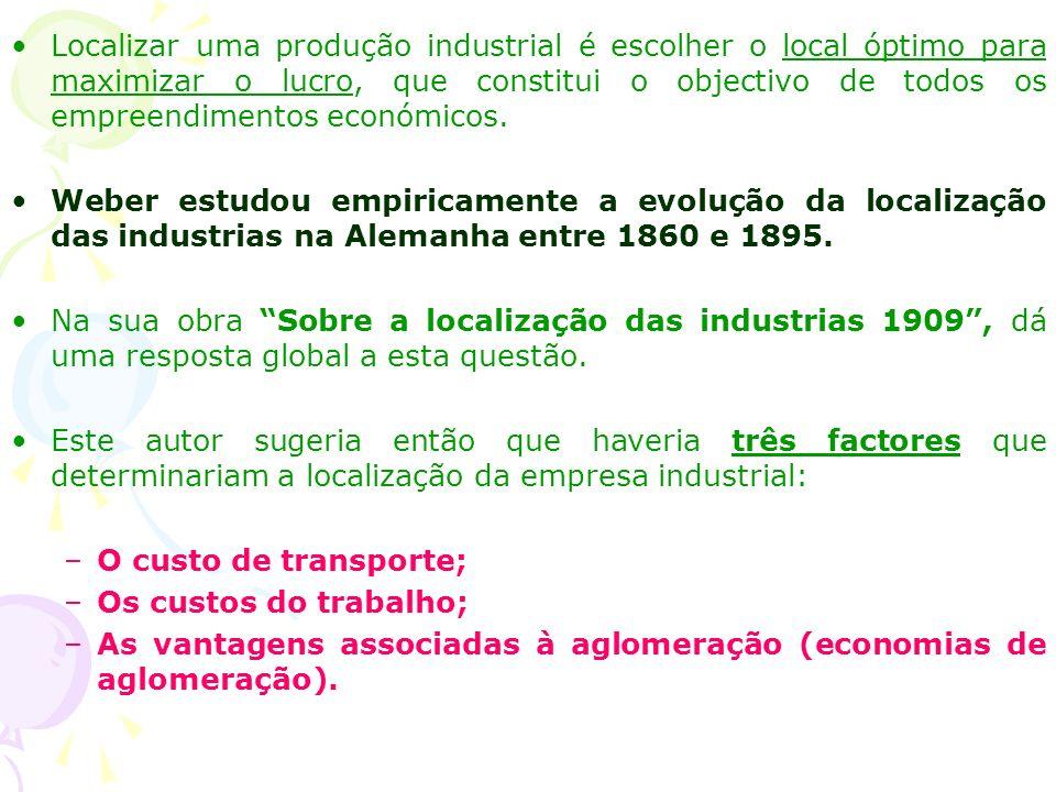 Localizar uma produção industrial é escolher o local óptimo para maximizar o lucro, que constitui o objectivo de todos os empreendimentos económicos.