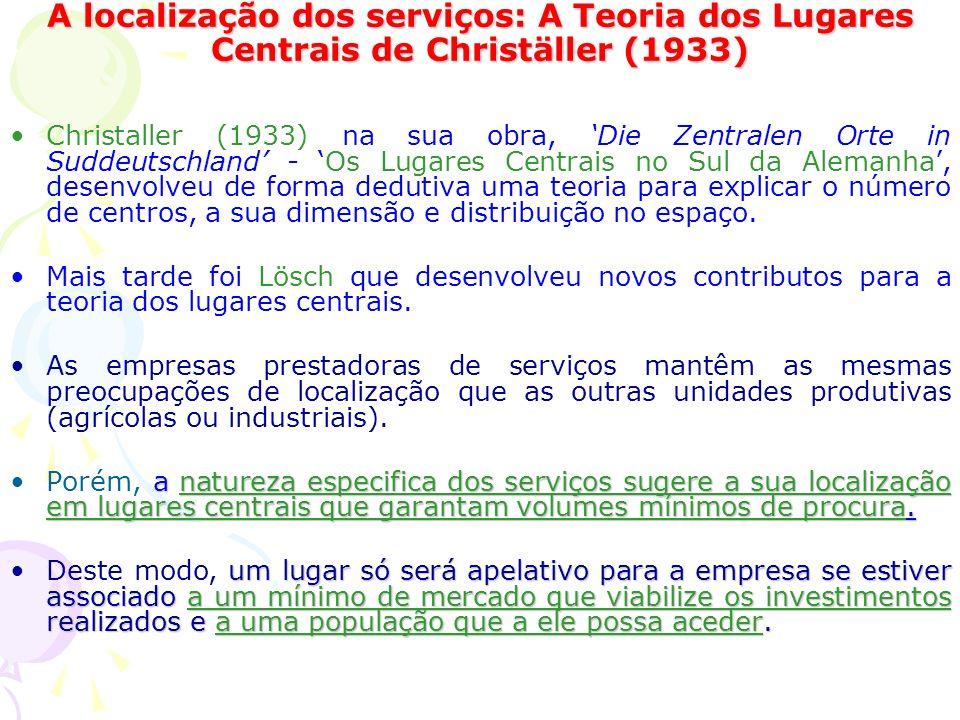 A localização dos serviços: A Teoria dos Lugares Centrais de Christäller (1933)