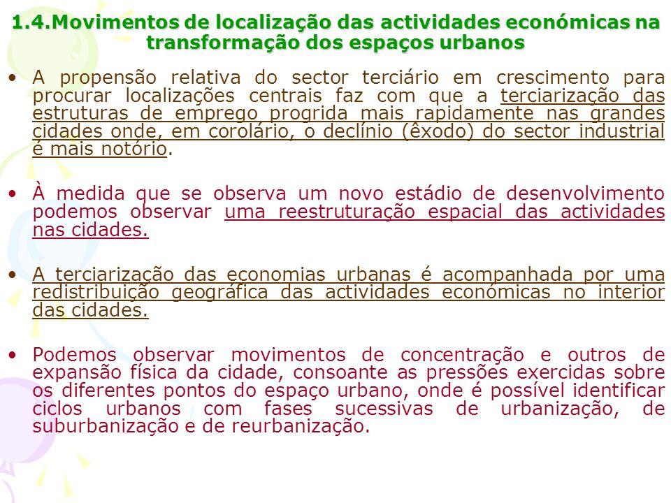1.4.Movimentos de localização das actividades económicas na transformação dos espaços urbanos